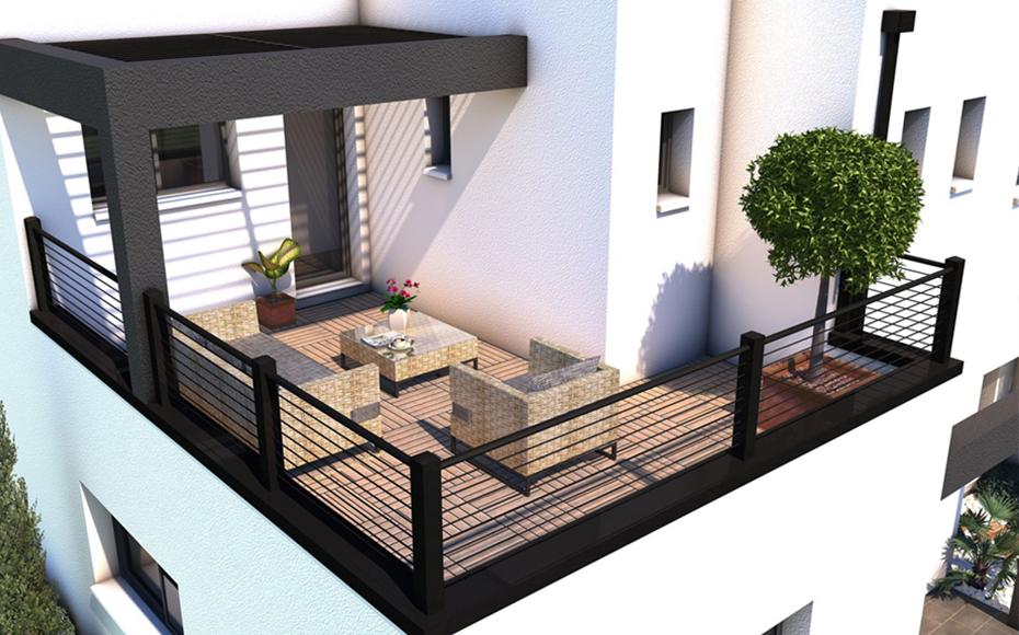 Terrasse extérieure à l'étage d'une maison contemporaine