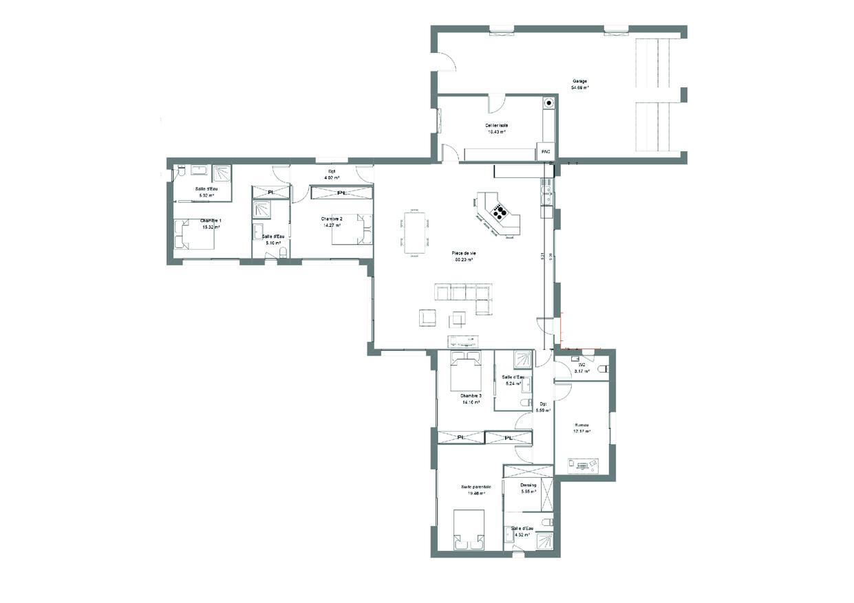 Plan d'une maison contemporaine avec 4 chambres