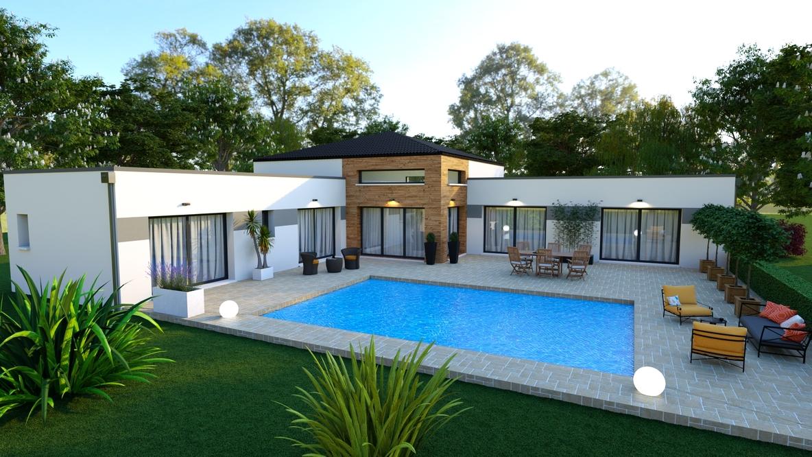 Vue sur une superbe terrasse moderne avec piscine