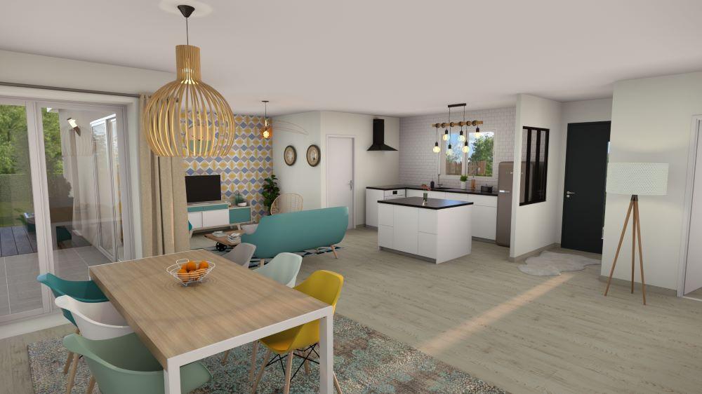 Pièce de vie d'une maison avec cuisine ouverte sur le salon et le coin salle à manger avec une décoration scnadinave