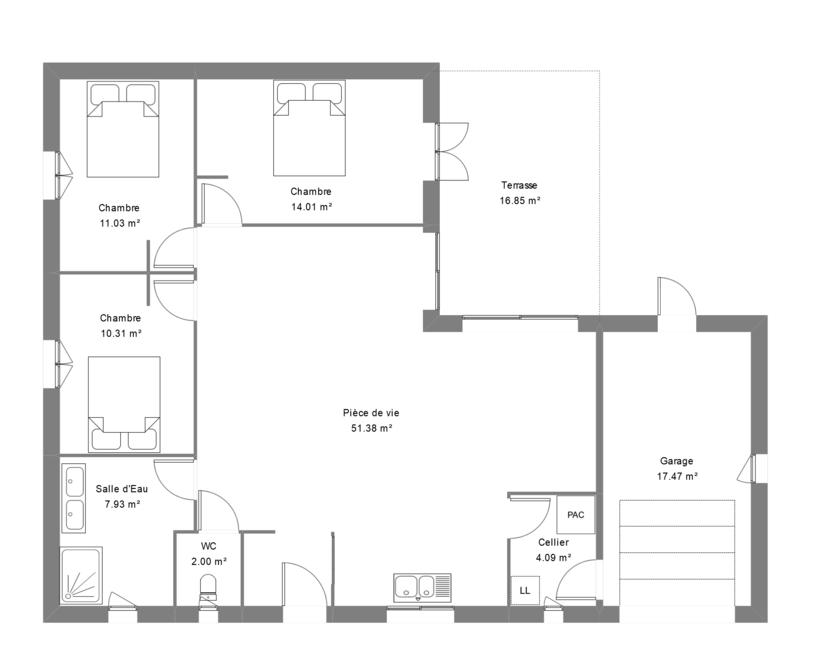 Plan d'une maison 3 chambres