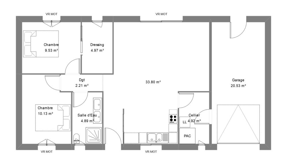 Plan d'une maison moderne avec 2 chambres