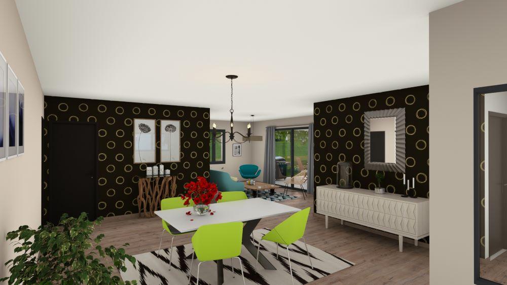 Salle à manger avec table et coin salon en fond devant baie-vitrée ouverte sur l'extérieur