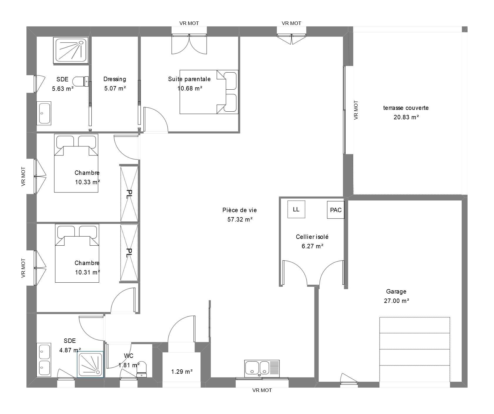 Plan d'une maison avec 3 chambres dont une suite parentale avec dressing et salle d'eau, et un garage