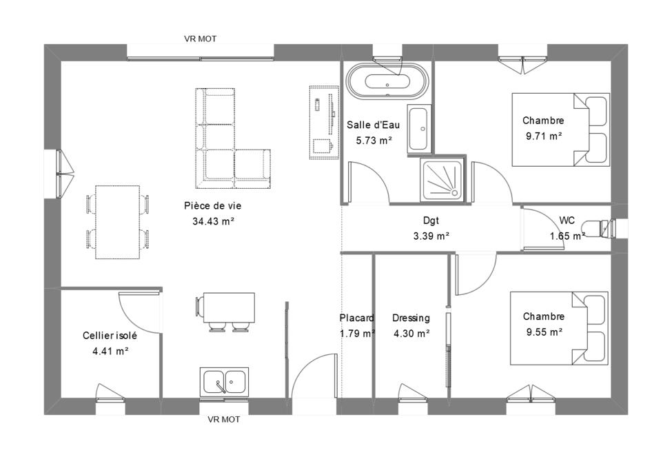 Plan maison contemporaine avec 2 chambres