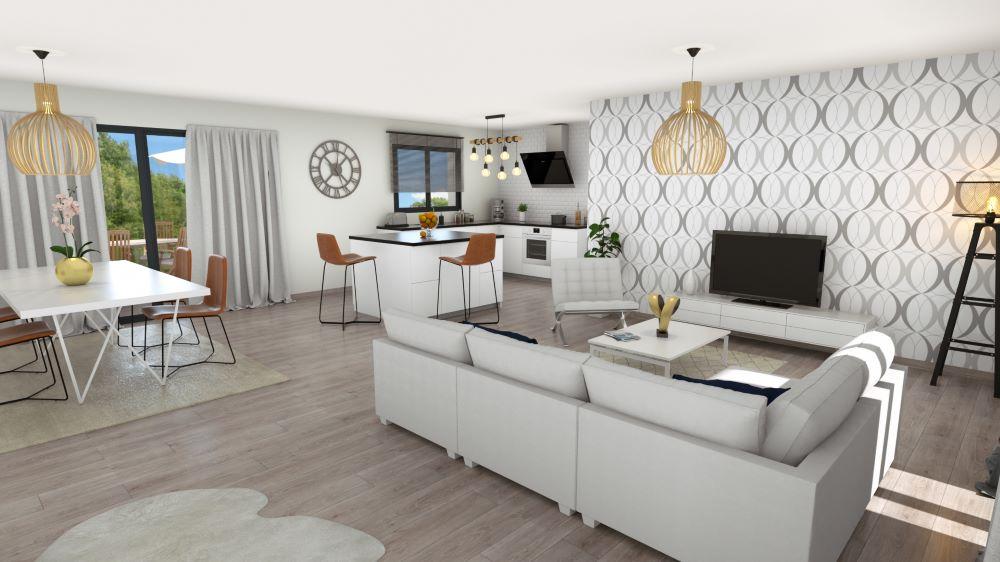 Salon-séjour et ilot central d'une maison moderne en Dordogne