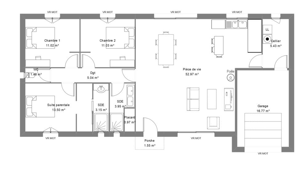 Plan d'une maison contemporaine avec 3 chambres