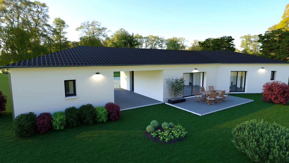 Vue sur un jardin coloré et sa terrasse