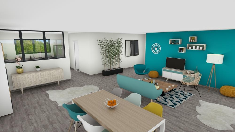 Vue sur un salon-séjour coloré