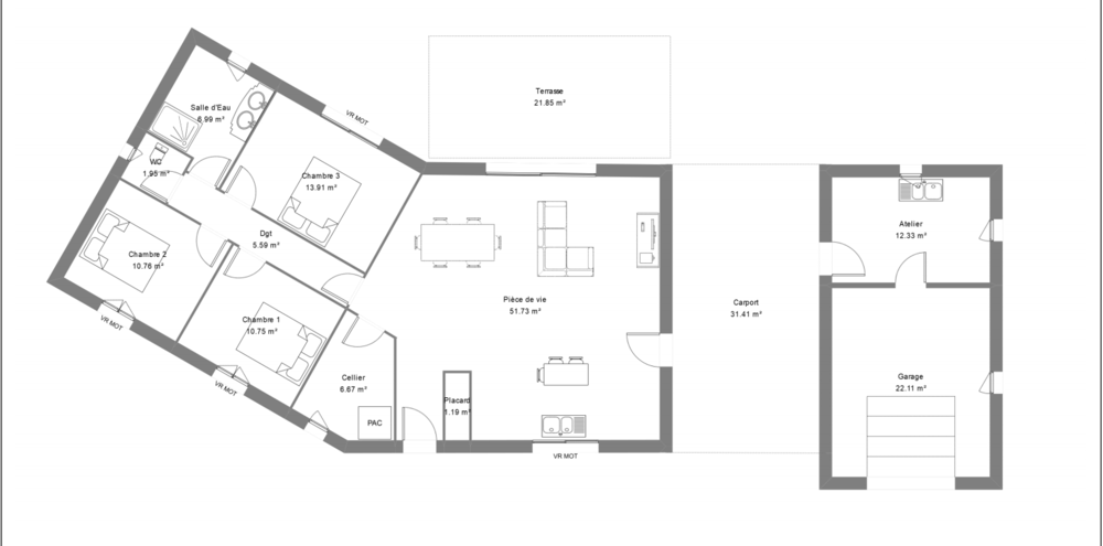 Plan maison contemporaine avec 3 chambres et un garage