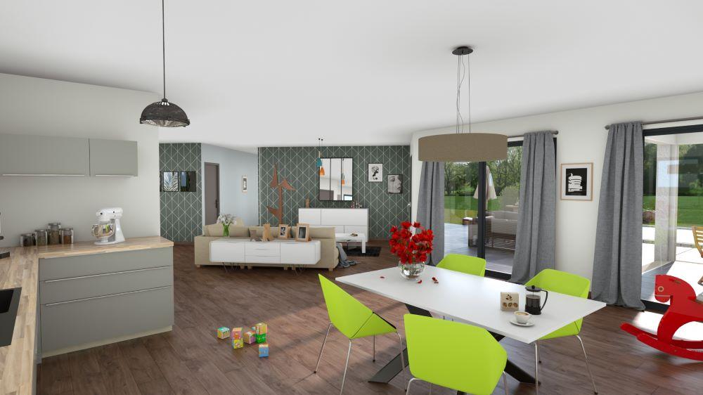 Intérieur d'une maison moderne avec cuisine ouverte sur le salon et ses 2 baies-vitrées
