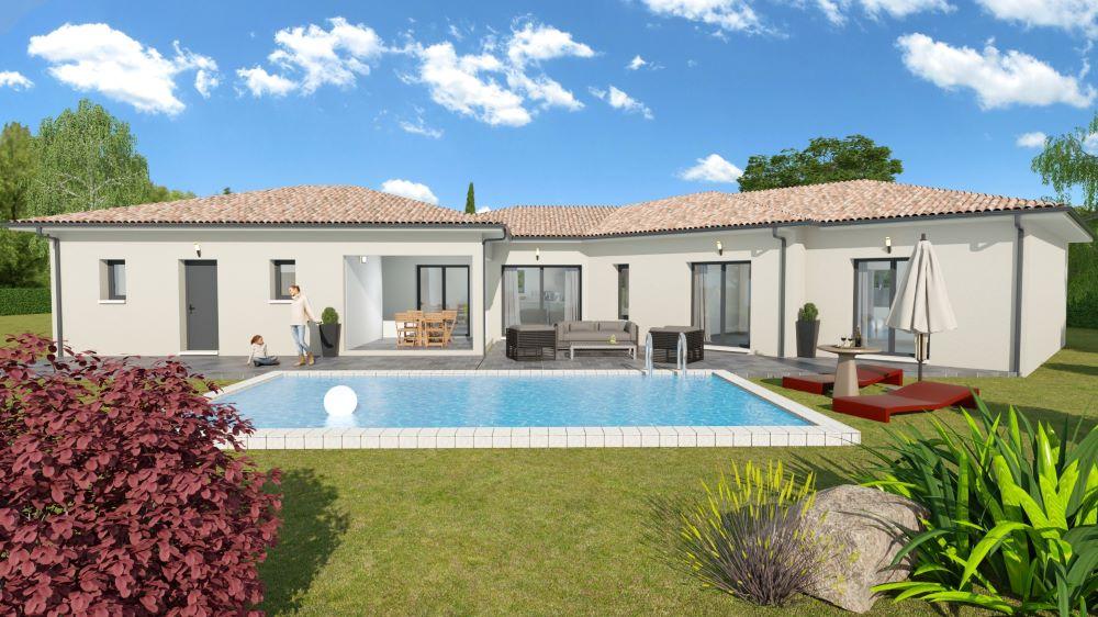 Double terrasse avec piscine pour une maison contemporaine avec un jardin moderne