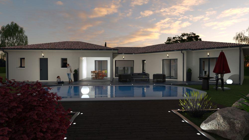 Maison moderne avec piscine et terrasse au coucher du soleil