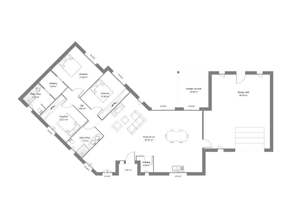 Plan d'une maison avec ses 3 chambres dont une suite parentale, une cuisine ouverte sur le salon et un garage décroché