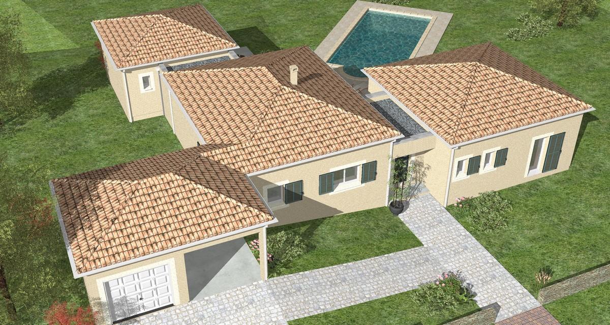 Maison contemporaine de plain-pied avec piscine à Lalinde • Les ...
