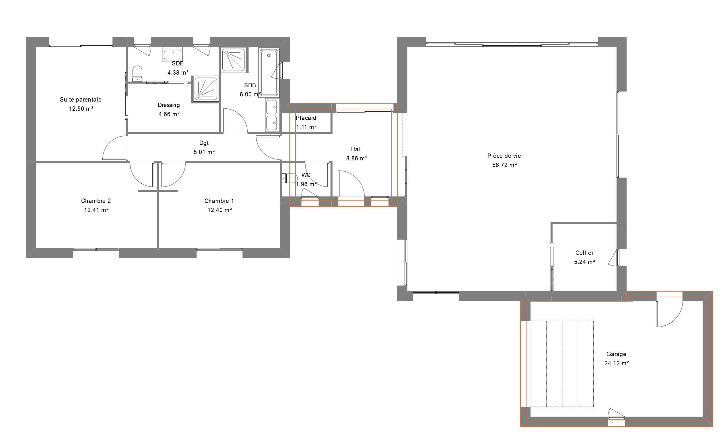Plan de maison en H avec grande pièce de vie et garage