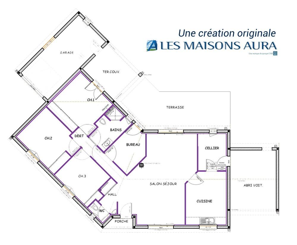 Plan maison contemporaine 3 chambres à Bergerac