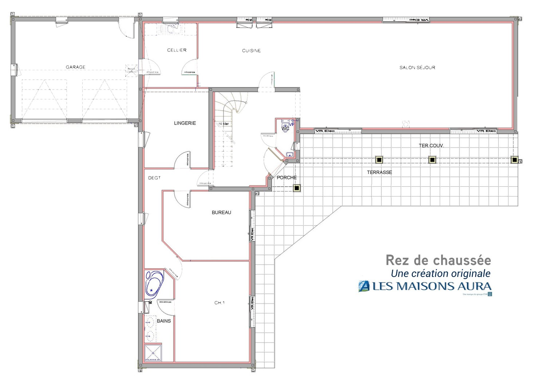 Exemple plan rez-de-chaussée maison périgourdine à Saint Julien de Lampon