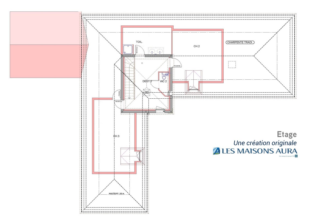 Exemple plan etage chambres maison perigourdine St Julien de Lampon