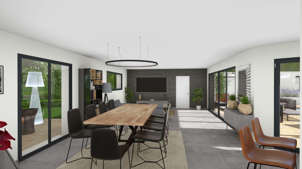 Salon-séjour lumineux d'une maison moderne avec de grandes baies-vitrées et un mobilier contemporain