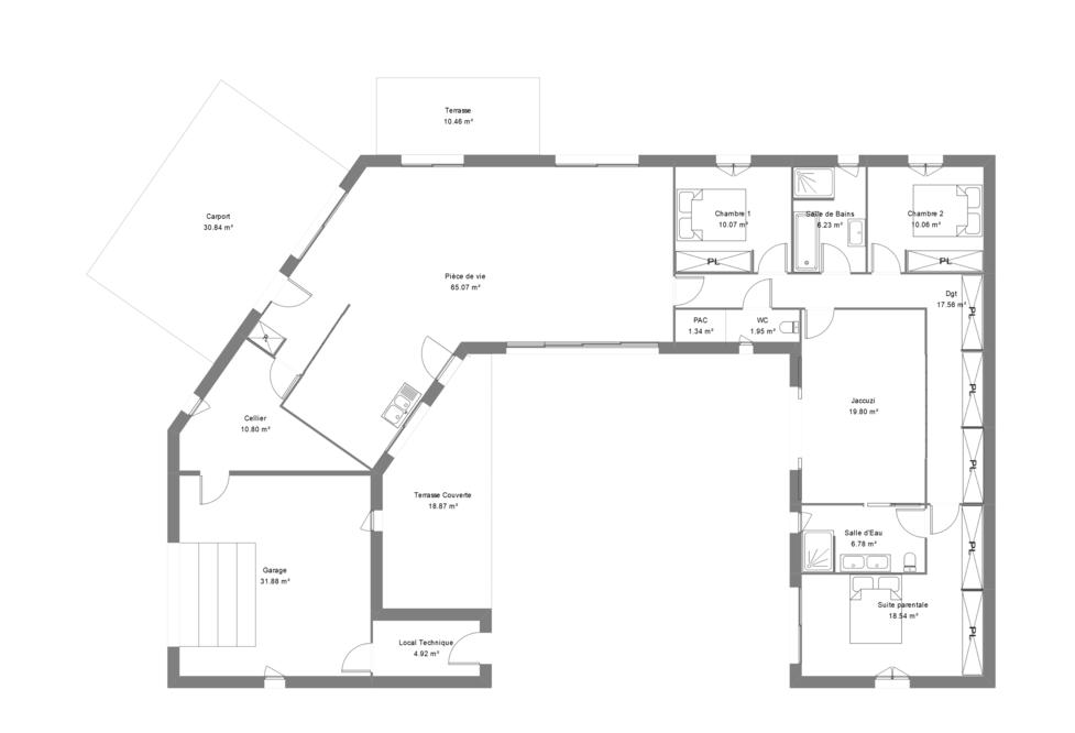 Plan maison contemporaine avec 3 chambres