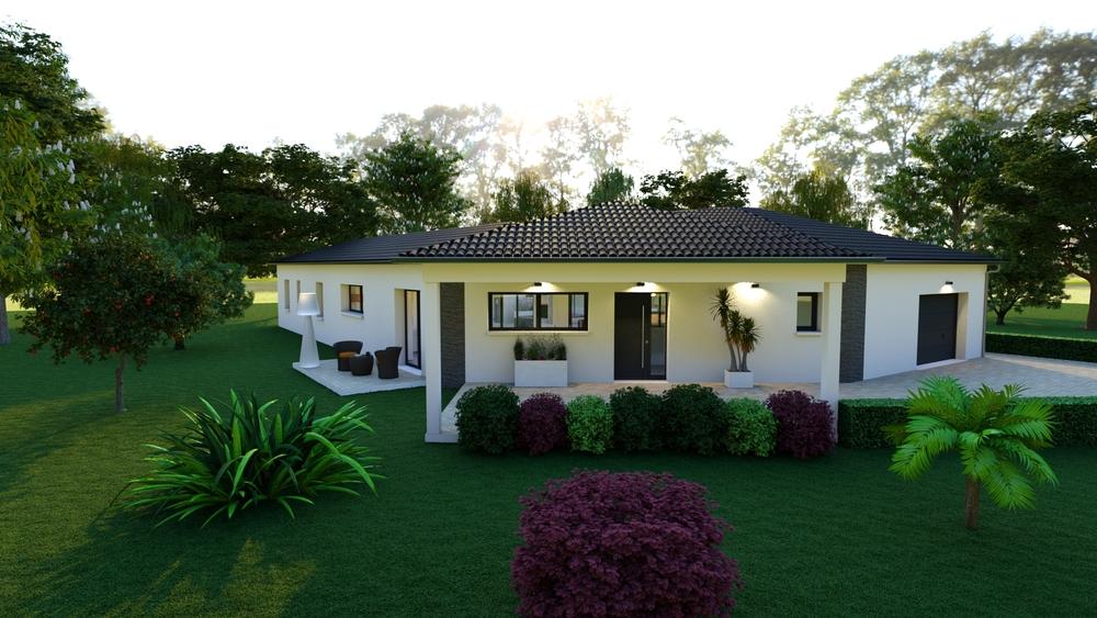 Vue sur un superbe espace terrasse avec jardin