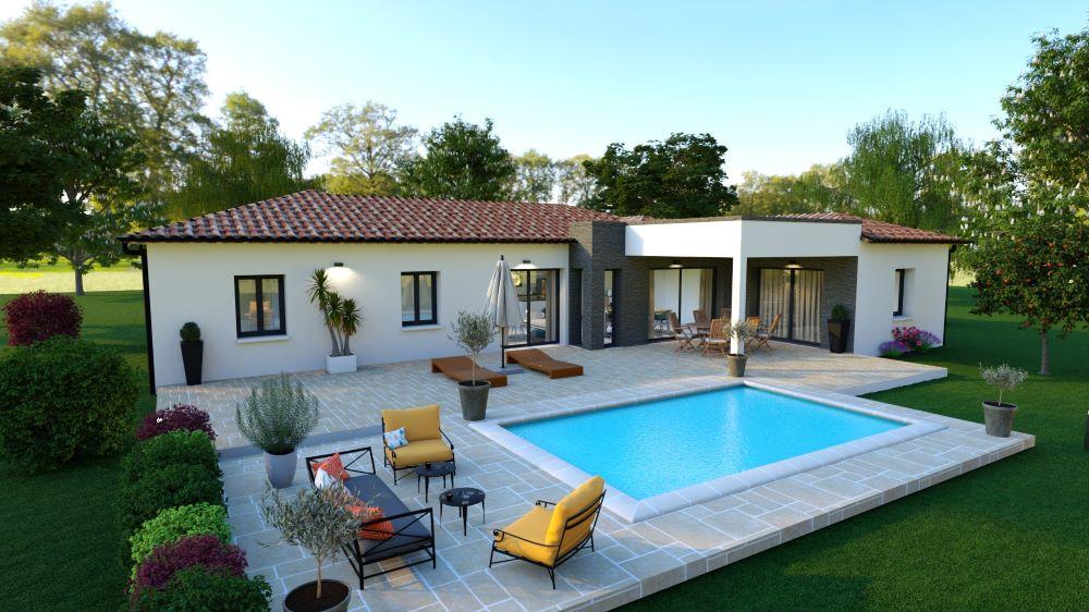 Terrasse d'une maison contemporaine avec piscine