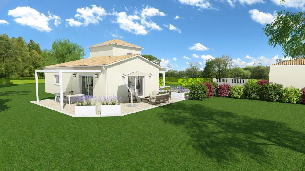 Maison moderne avec tour centrale et jardin