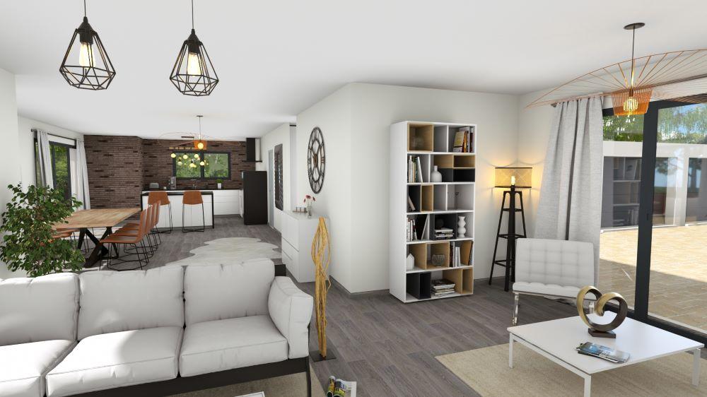 Salon et salle à manger avec coin lecture d'une maison moderne avec de belles ouvertures