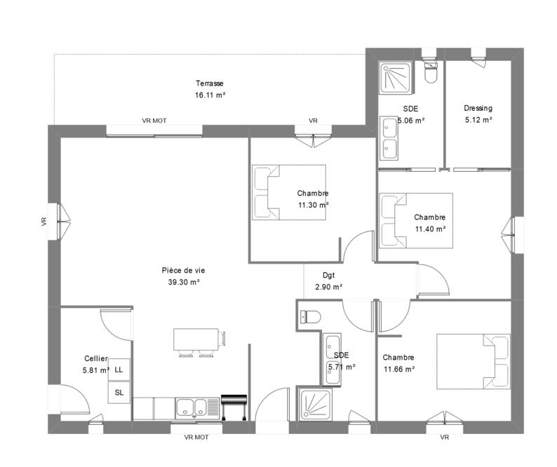 Plan de maison contemporaine avec 3 chambres