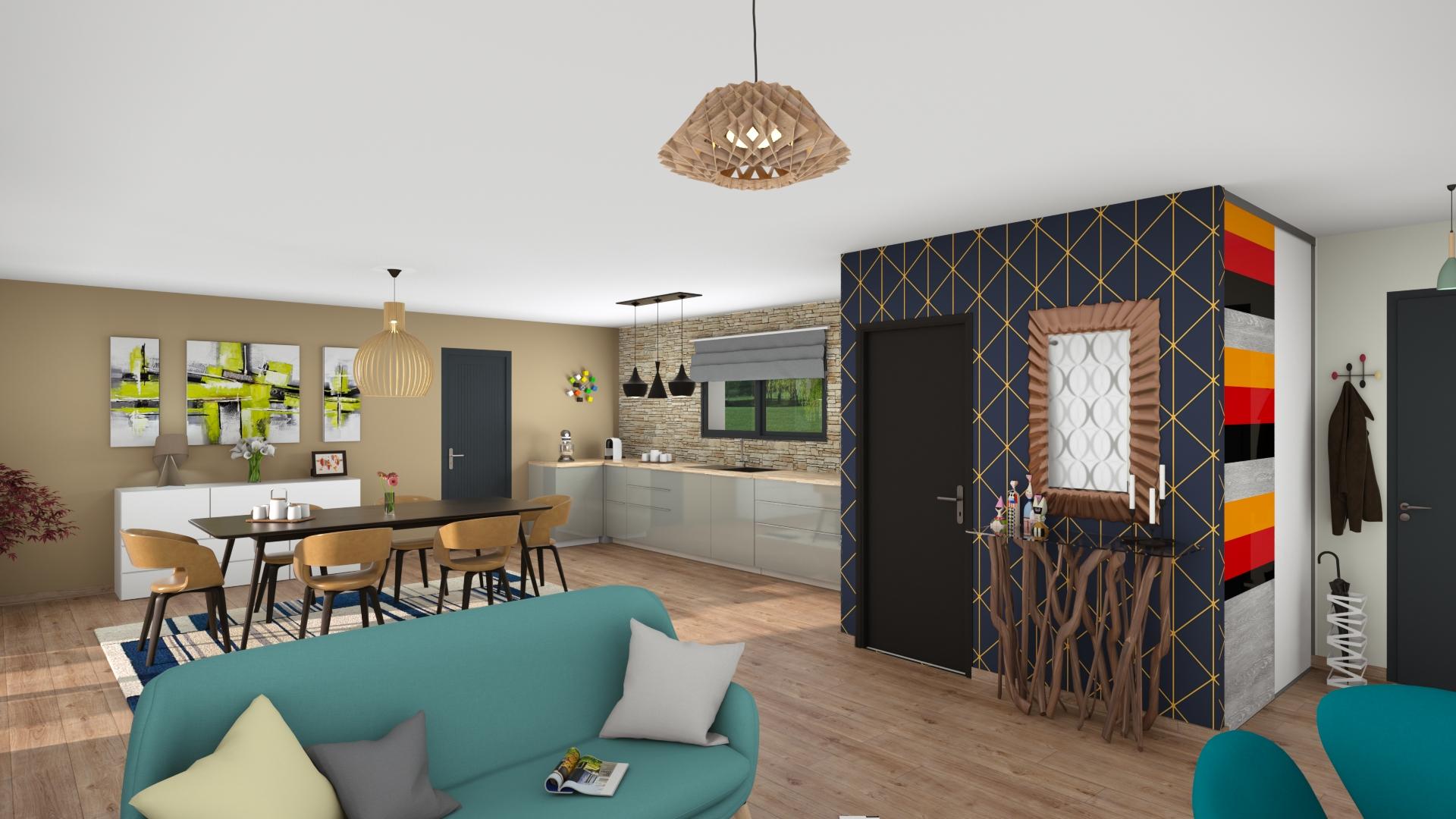 Salon d'une maison contemporaine en Dordogne
