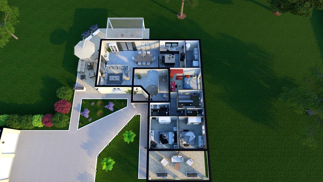 Plan exo de maison moderne avec tour centrale