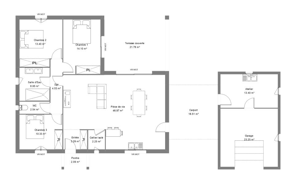 Plan maison contemporaine en Dordogne
