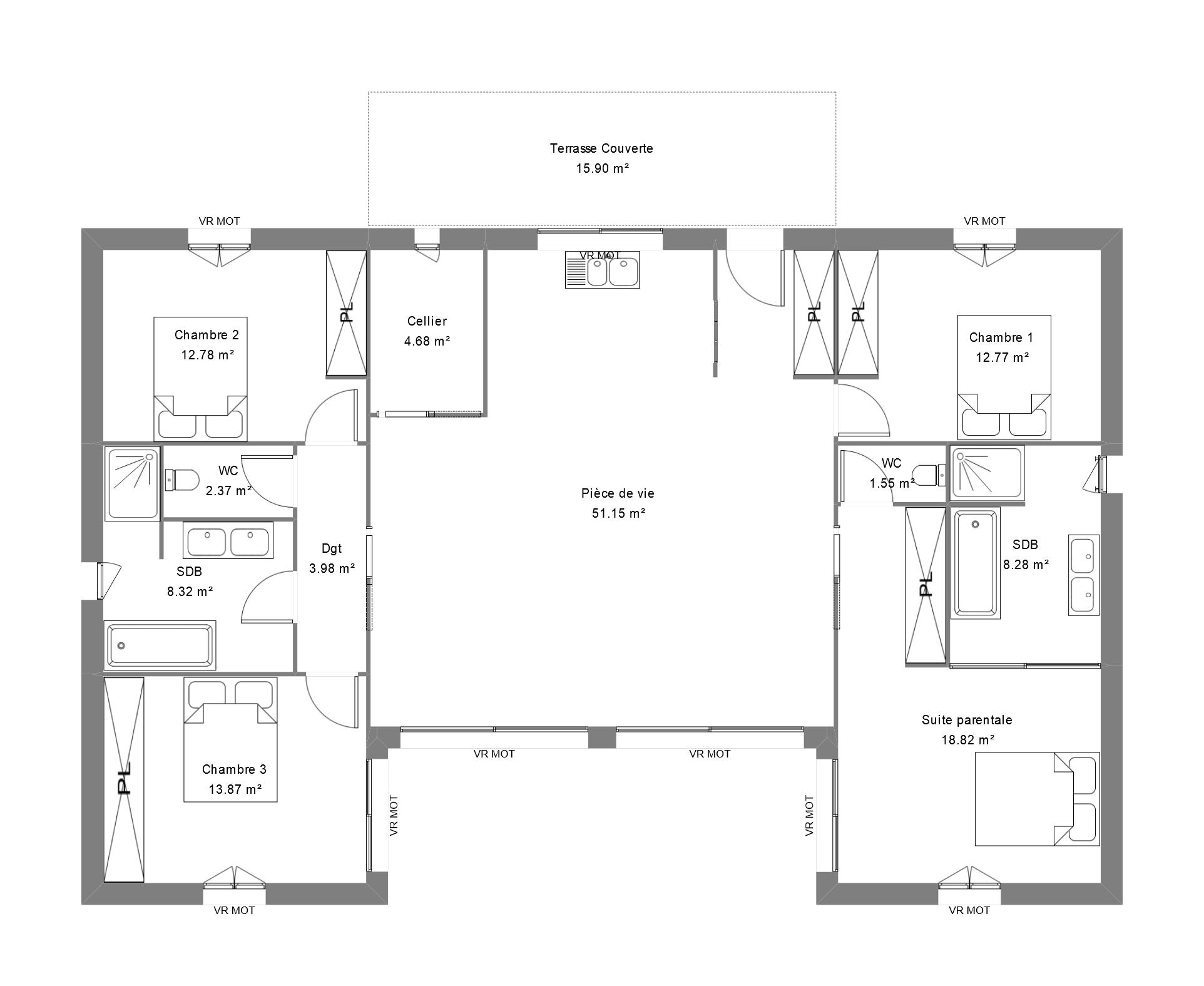 Plan maison 4 chambres avec suite parentale