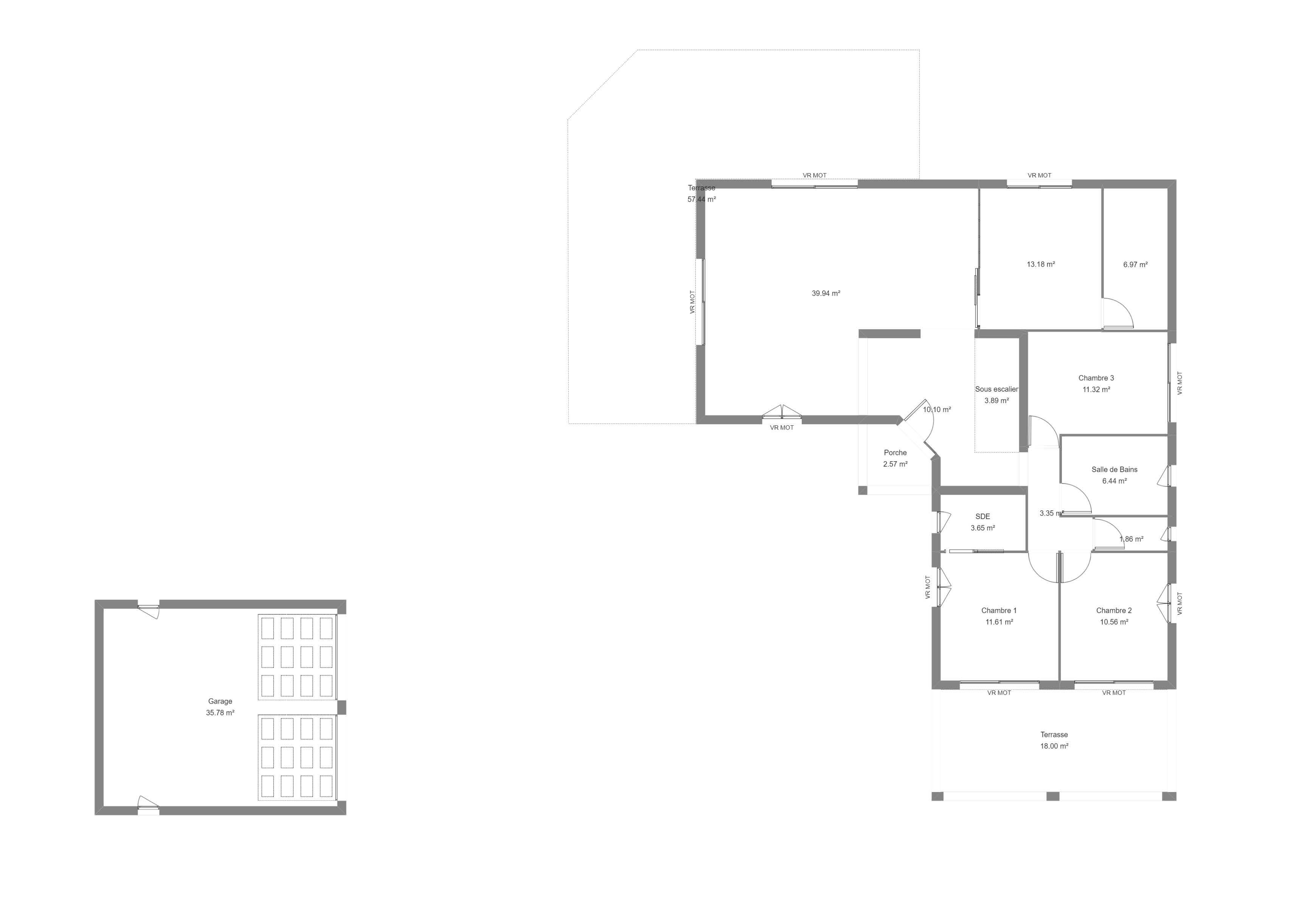 Plan maison moderne avec 3 chambres et un double garage isolé