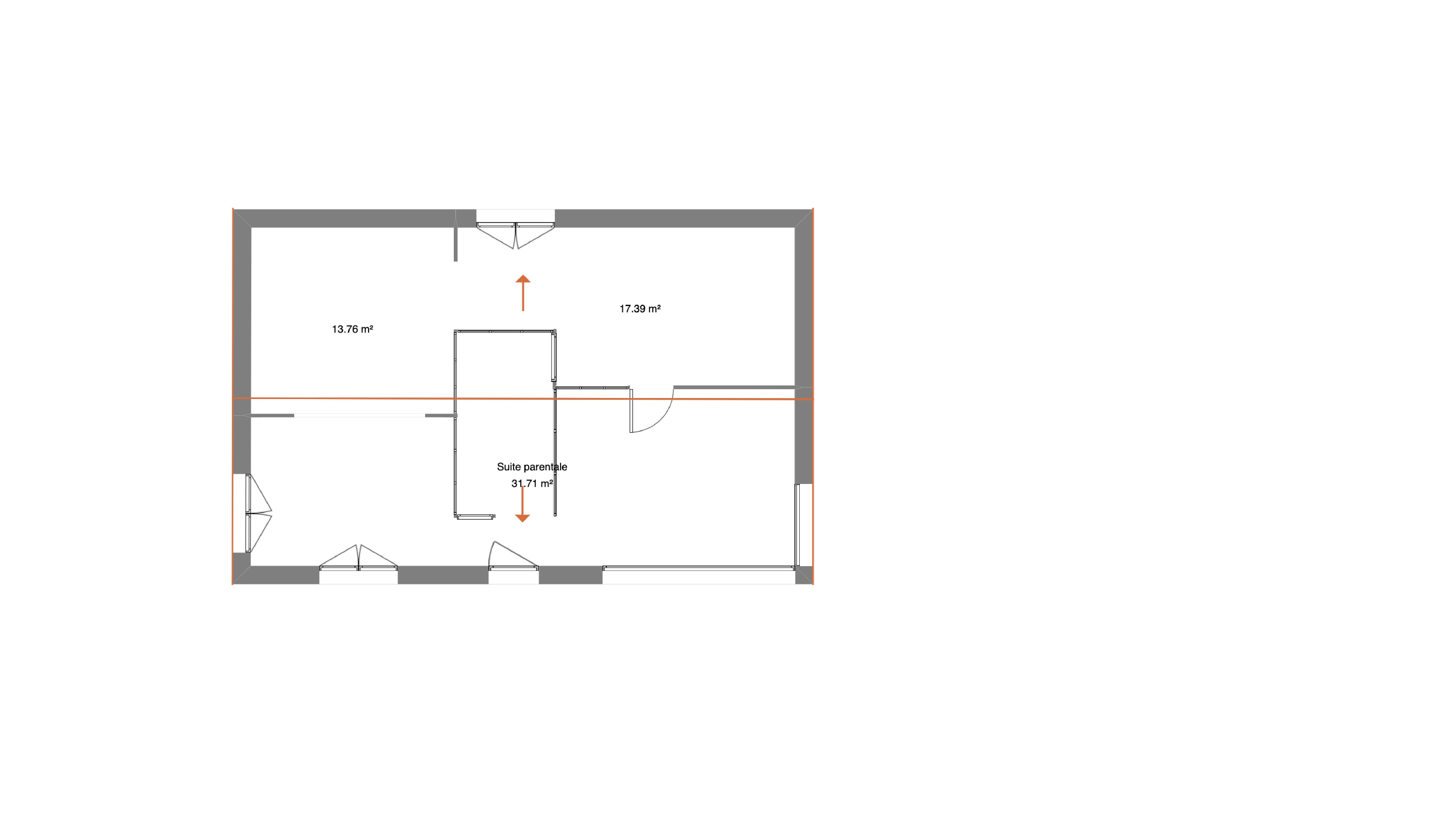 Plan coté étage maison contemporaine