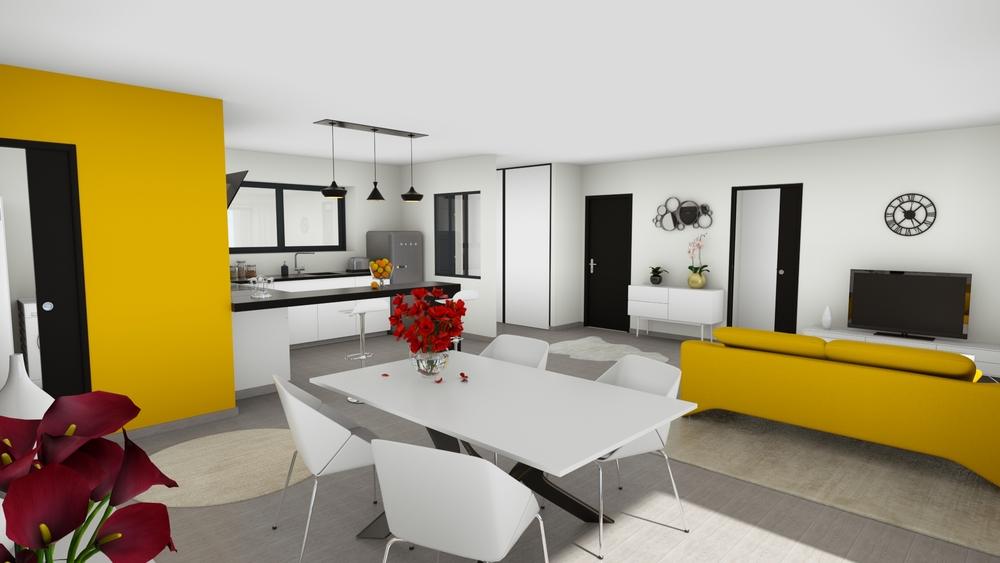 Vue sur un salon-séjour coloré et lumineux