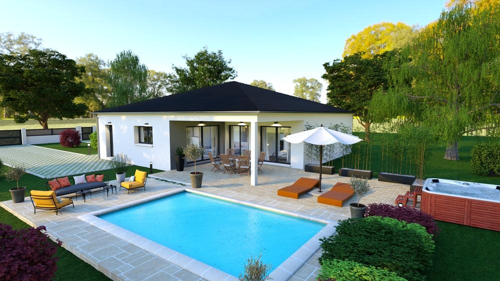 Vue sur une superbe terrasse avec piscine