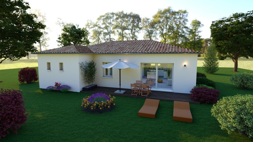 Vue sur une terrasse avec jardin coloré
