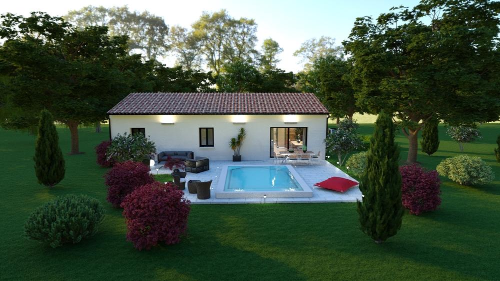 Vue de la superbe terrasse avec piscine