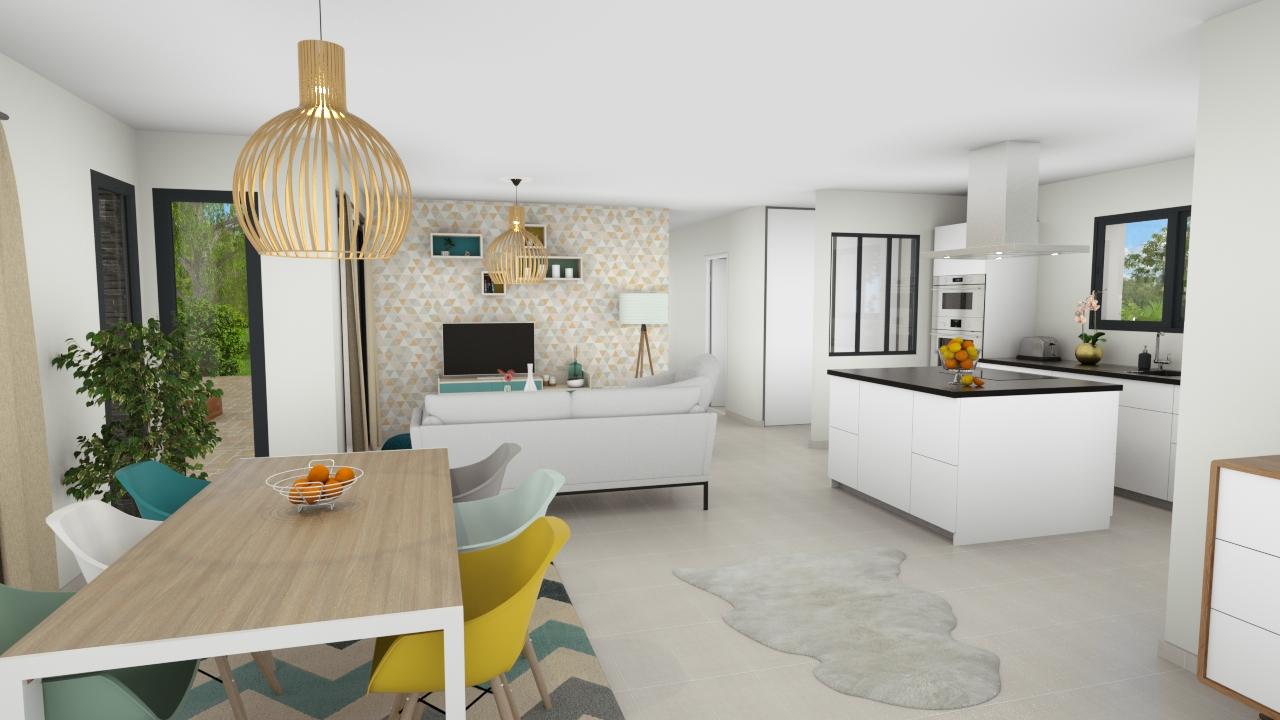 Salon et cuisine ouverte d'une maison contemporaine
