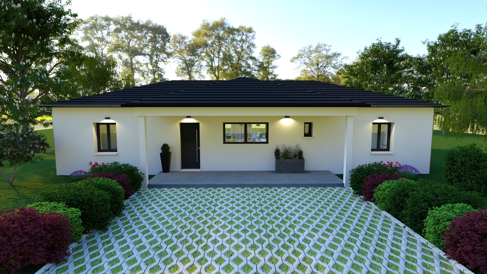 Maison contemporaine avec allée menant vers le porche