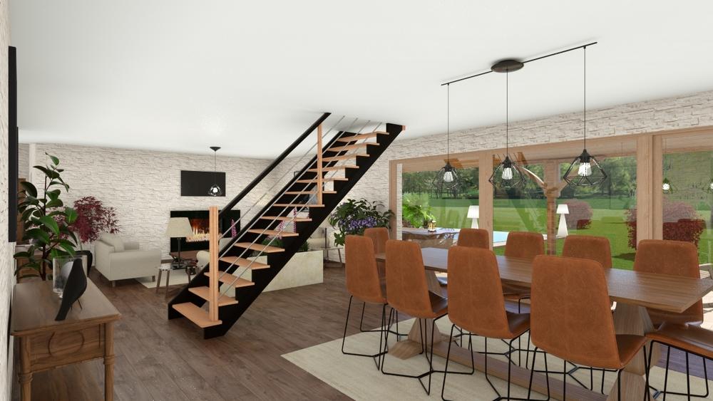 Vue sur un séjour-salon avec escalier moderne