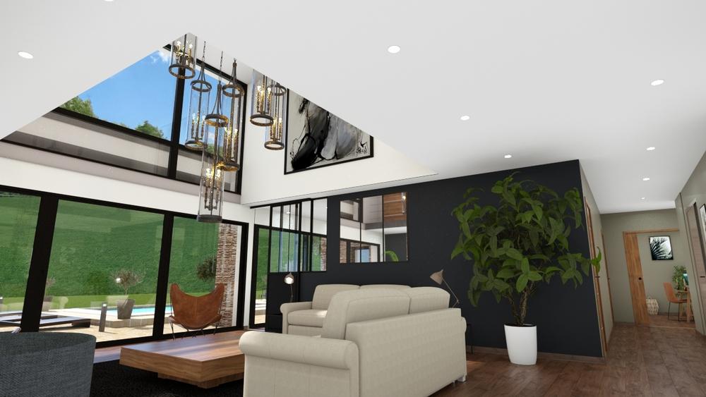 Vue sur un salon-séjour moderne