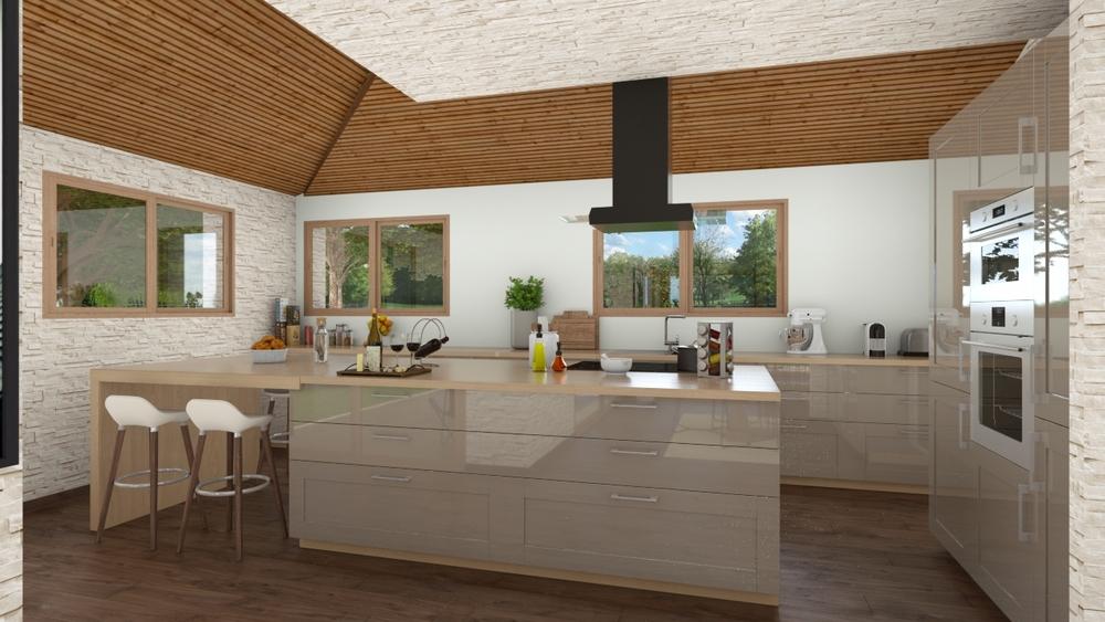 Vue sur une cuisine fonctionnelle et moderne