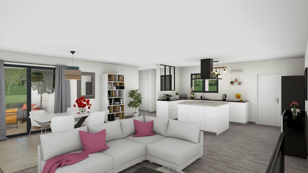 Vue sur un salon-séjour moderne et coloré