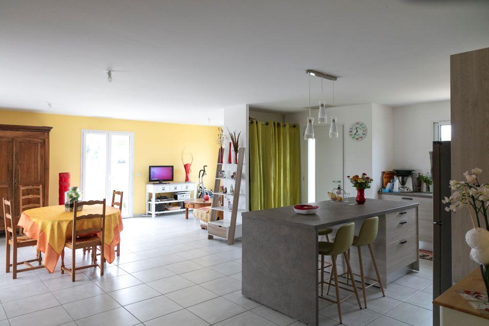 Cuisine ouverte sur espace de vie avec salon et salle à manger