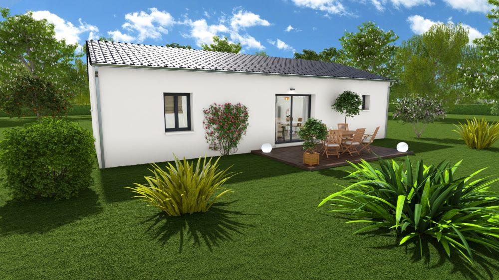 Maison deux chambres avec terrasse et baie-vitrée donnant sur le jardin
