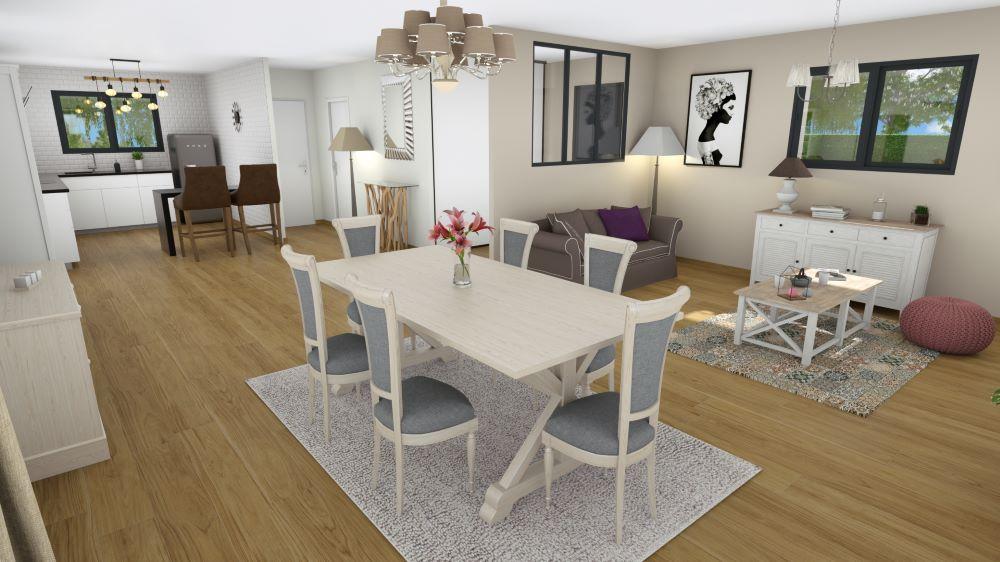 Salon d'une maison en Dordogne avec cuisine ouverte et table pour manger