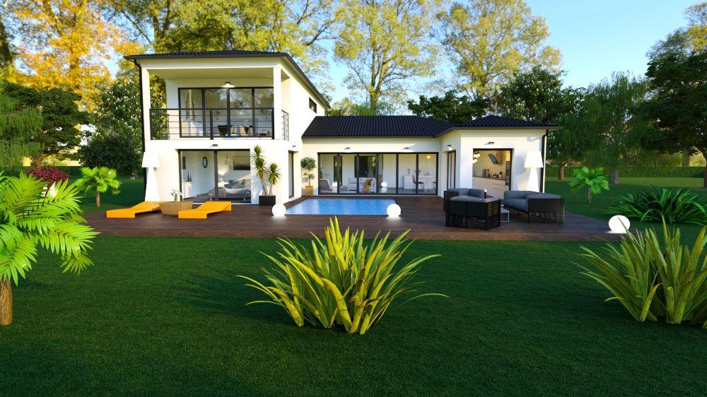 Terrasse avec piscine intégrée d'une maison à étage à l'architecture contemporaine